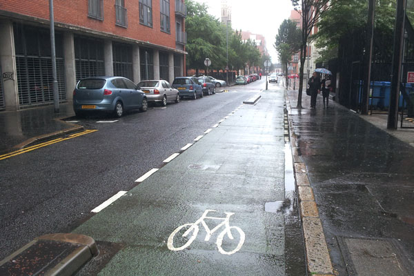 Alfred Street cycle lane in Belfast