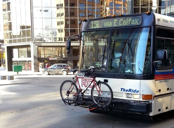 Bike rack on one of the many buses