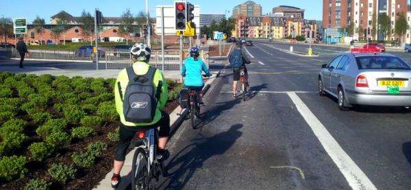 Albert Bridge cycling queue