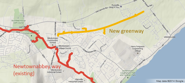 Monkstown Greenisland Greenway map